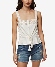 Juniors' Lace-Trim Drawstring Tank Top