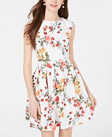 Juniors' Printed Open-Back Fit & Flare Dress