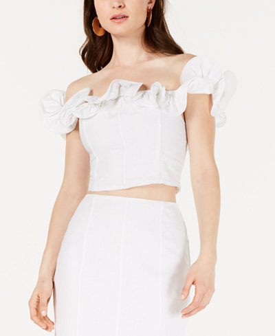 GUESS Ruffled Off-The-Shoulder Cropped Top