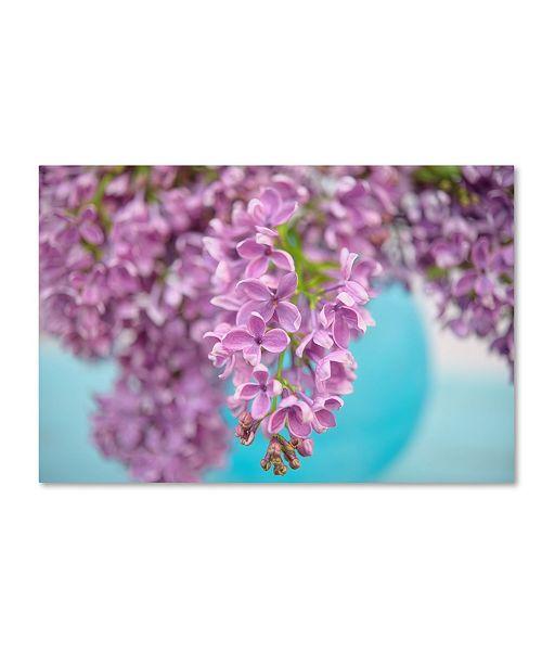 "Trademark Global Cora Niele 'Lilacs In Blue Vase I' Canvas Art - 19"" x 12"" x 2"""