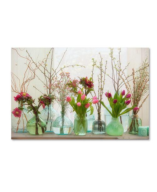 "Trademark Global Cora Niele 'Spring Flowers In Glass Bottles Ii' Canvas Art - 19"" x 12"" x 2"""