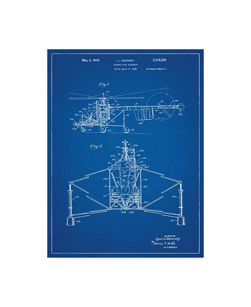 """Trademark Innovations Cole Borders 'Helicopter 1' Canvas Art - 19"""" x 14"""" x 2"""""""