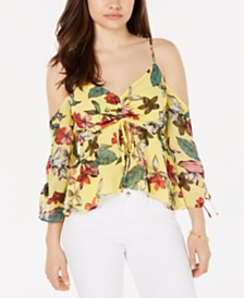 GUESS Printed Cold-Shoulder Ruched Top