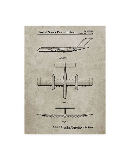 """Trademark Innovations Cole Borders 'Boeing Rc 1 Airplane Concept' Canvas Art - 19"""" x 14"""" x 2"""""""