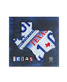 "Design Turnpike 'Texas License Plate Map' Canvas Art - 14"" x 14"" x 2"""