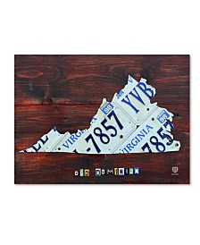 "Design Turnpike 'Virginia License Plate Map Large' Canvas Art - 24"" x 18"" x 2"""