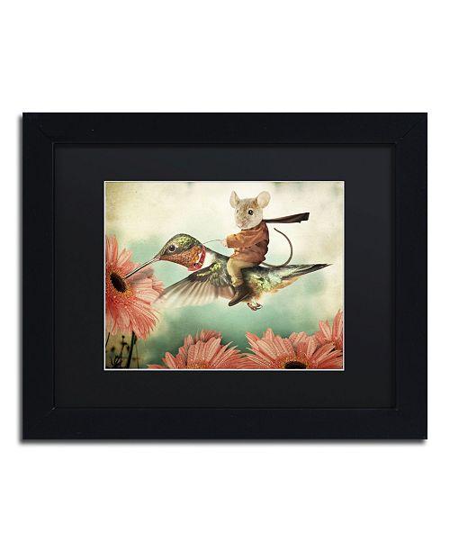 "Trademark Global J Hovenstine Studios 'Catching A Ride Hummingbird' Matted Framed Art - 11"" x 14"" x 0.5"""