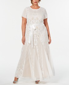 R & M Richards Plus Size Sequined Gown