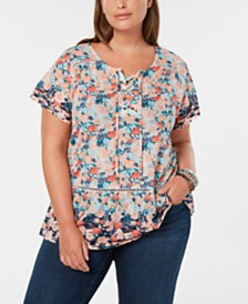 Style & Co Plus Size Floral-Print Ladder-Trim Top, Created for Macy's