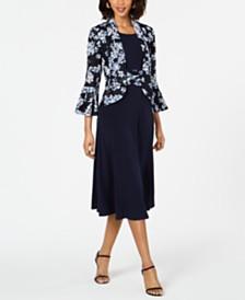 Jessica Howard Petite Lace Ruffle-Sleeve Jacket & Dress