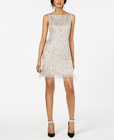 Petite Sequined & Beaded Fringe Dress