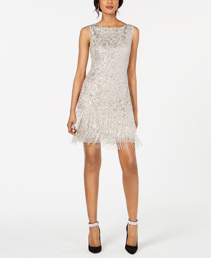 Adrianna Papell - Beaded Fringe Short Dress