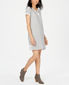 Style & Co Petite Lace-Up T-Shirt Dress, Created for Macy's