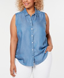 Charter Club Plus Size Sleeveless Shirt, Created for Macy's