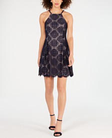Vince Camuto Lace Halter Fit & Flare Dress
