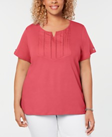 Karen Scott Plus Size Cotton Pleated Split-Neck Top, Created for Macy's