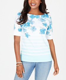 Karen Scott Floral Striped Top, Created for Macy's