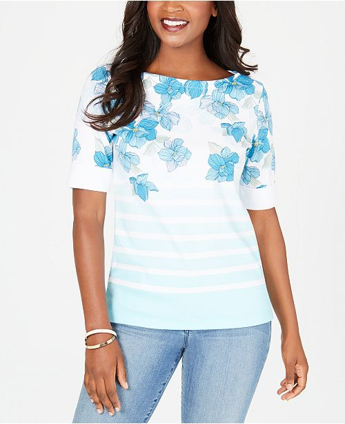 Karen Scott Petite Striped Floral Top, Created for Macy's