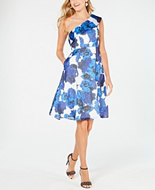 Floral-Print One-Shoulder Dress