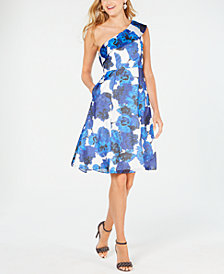 Adrianna Papell Floral-Print One-Shoulder Dress