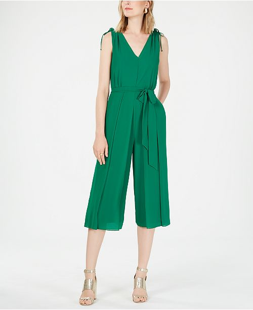 Vince Camuto Chiffon V-Neck Cropped Jumpsuit