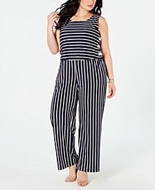 Plus & Petite Plus Size Striped Side-Lace-Up Jumpsuit