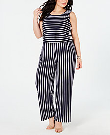 NY Collection Plus & Petite Plus Size Striped Side-Lace-Up Jumpsuit