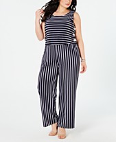 c81c490069aede NY Collection Plus & Petite Plus Size Striped Side-Lace-Up Jumpsuit. 2  colors