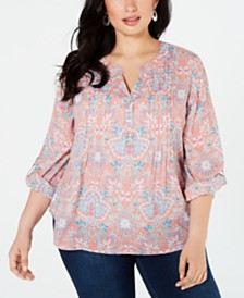 NY Collection Plus Size Tuwa Printed Pleated Utility Top