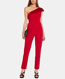 Adrianna Papell One-Shoulder Satin Jumpsuit