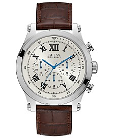 GUESS Men's Chronograph Anchor Brown Leather Strap Watch 46.5mm