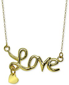 "Giani Bernini Scripted Love Pendant Necklace in 18k Gold-Plated Sterling Silver, 16"" + 2"" extender, Created for Macy's"
