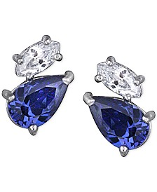 Giani Bernini Imitation Tanzanite and Cubic Zirconia Stud Earrings in Sterling Silver, Created for Macy's