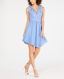 julia jordan Ruffle V-Neck A-Line Dress