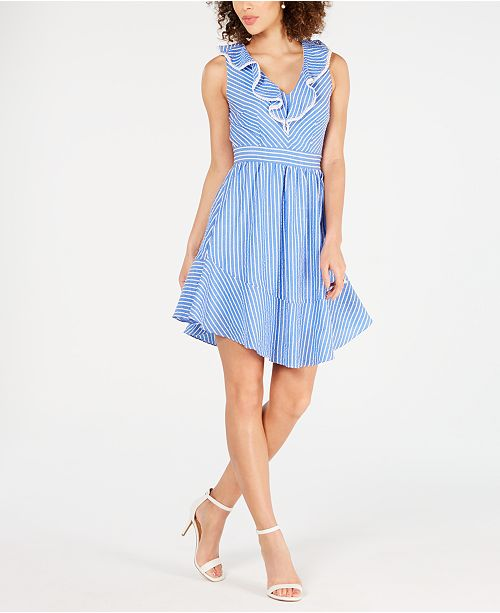 julia jordan Ruffle V-Neck A-Line Dress
