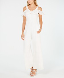 julia jordan Sleeveless Cropped Eyelet Jumpsuit