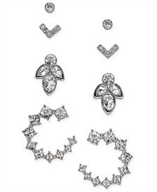 I.N.C. Silver-Tone 4-Pc. Set Crystal Earrings, Created for Macy's
