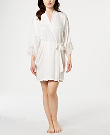 Graciela Lace-Trim Satin Wrap Robe