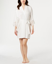 Linea Donatella Graciela Lace-Trim Satin Wrap Robe