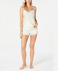 Caterina Satin & Lace-Trim Camisole Top & Shorts Pajama Set