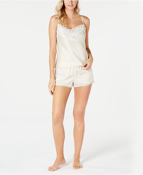 Linea Donatella Caterina Satin & Lace-Trim Camisole Top & Shorts Pajama Set