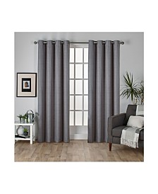 Exclusive Home Raw Silk Woven Blackout Grommet Top Curtain Panel Pair