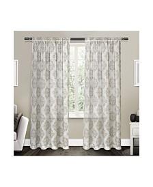 Exclusive Home Nagano Medallion Belgian Sheer Linen Rod Pocket Curtain Panel Pair