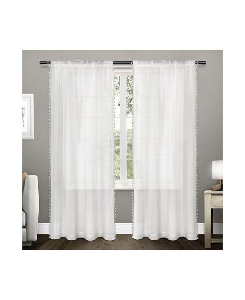 Exclusive Home Tassels Embellished Sheer Rod Pocket Curtain Panel Pair