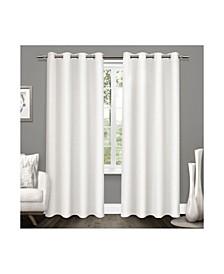 Tweed Textured Linen Blackout Grommet Top Curtain Panel Pair