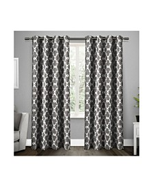 Exclusive Home Gates Sateen Woven Blackout Grommet Top Curtain Panel Pair