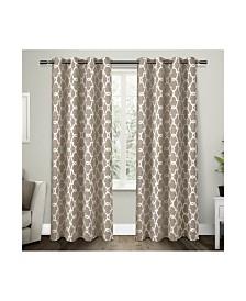 Exclusive Home Gates Sateen Woven Blackout Grommet Top Curtain Panel Pair