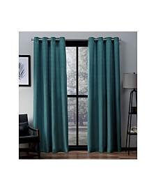 Exclusive Home Virenze Faux Silk Grommet Top Curtain Panel Pair