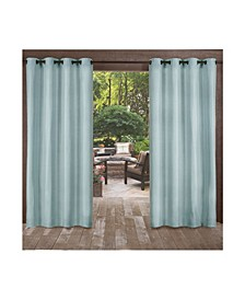 "Biscayne Indoor Outdoor Two Tone Textured Grommet Top Curtain Panel Pair, 54"" x 108"""