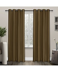 """Exclusive Home Shantung Thermal Blackout Grommet Top 54"""" X 84"""" Curtain Panel Pair"""